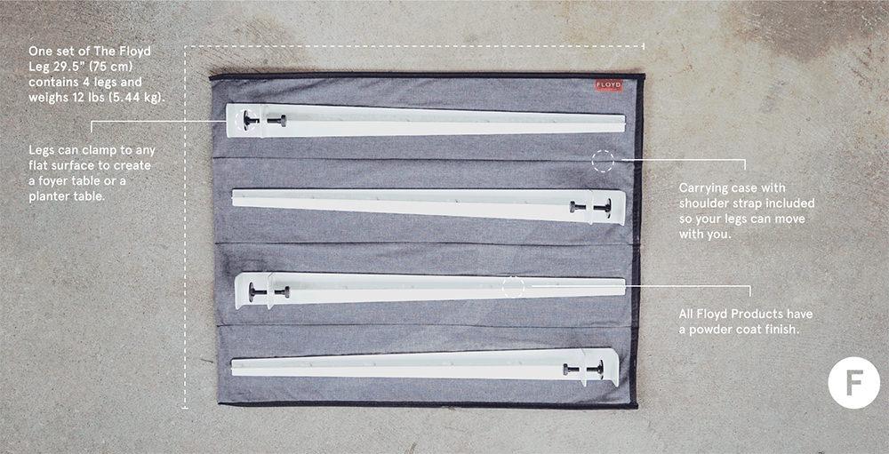 天板をクランプする鉄脚