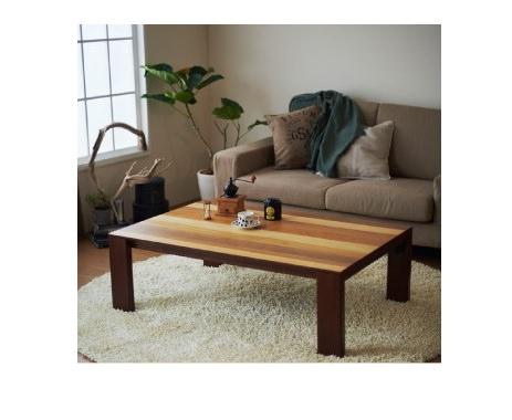 4種の木材を組み合わせたこたつテーブル