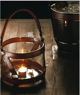 革とガラスを使ったキャンドルホルダー