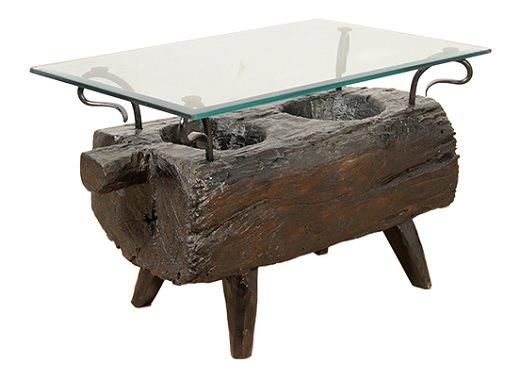 丸太のガラステーブル