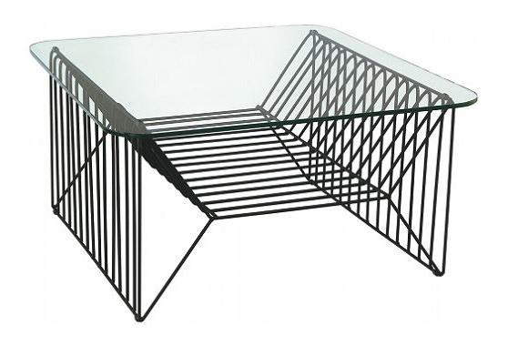 ワイヤー製のガラステーブル