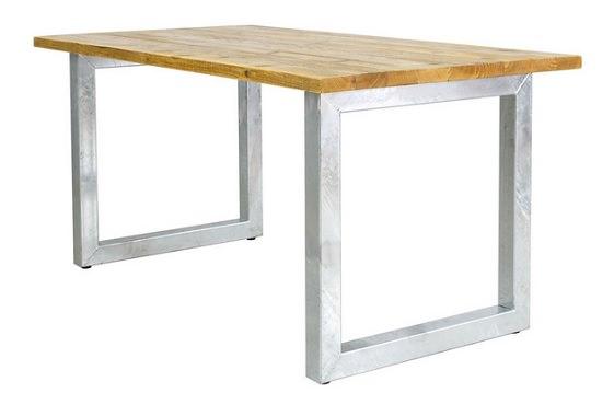 ガルバナイズド脚の古材テーブル