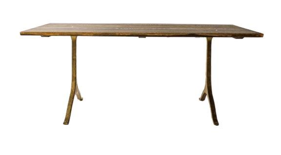 アイアン脚のオークテーブル